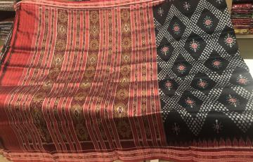 All over Ikat work Black and Red Khandua Silk Saree without Blouse Piece