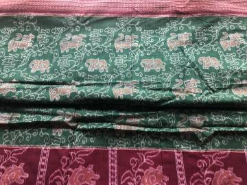 Elephant and lion motifs All over Ikat work Cotton Fabric