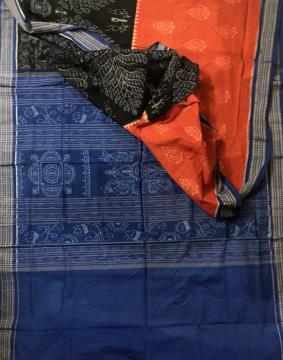 Beautiful color combinations intricately woven Cotton Ikat Saree with Blouse Piece