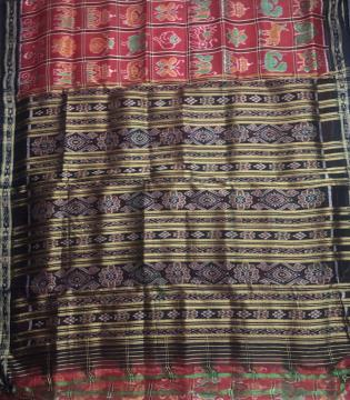 Red and Black Traditional Khandua Nabakothi Silk Saree without Blouse piece