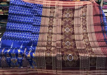 Tribal motifs all over Ikat work Khandua Silk saree without Blouse piece