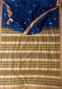 Exclusively woven fish motifs Border body and Aanchal Cotton Bomkai saree with Blouse Piece