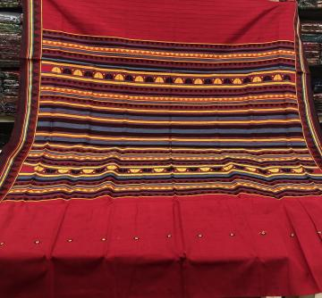 Red Cotton Dongria Saree