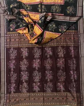 Flowers and Swan Motifs Cotton Ikat Saree without Blouse Piece
