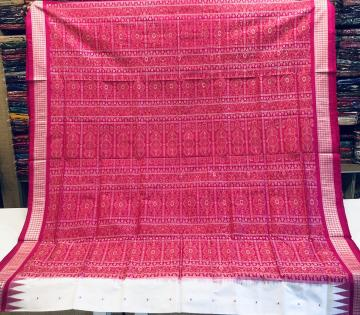 White and Pink Traditional Bomkai Silk Saree with Blouse Piece