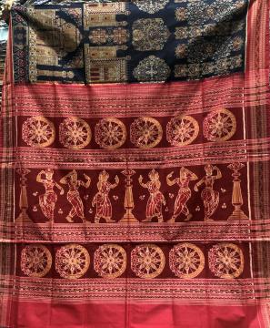 Master weaver s Taj Mahal palaces theme body with dancers wheel motifs Cotton Ikat saree with Blouse