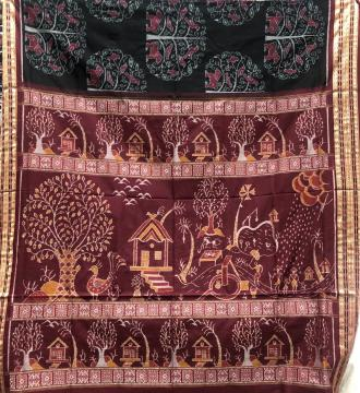 Village theme Aanchal with trees birds animals motifs body Cotton Ikat Saree with Blouse Piece
