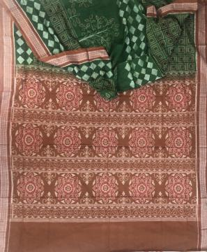 Tree and Geometric Motifs Cotton Ikat Saree with Blouse Piece