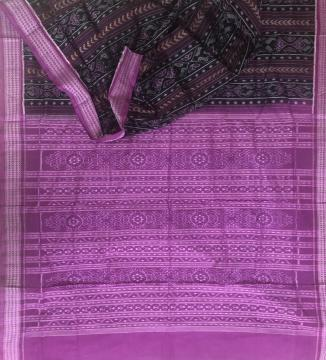 All over body and Aanchal Ikat work Cotton Sambalpuri Saree with Blouse Piece