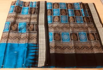 Patli design Traditional Aanchal Silk Bomkai Saree with Blouse Piece