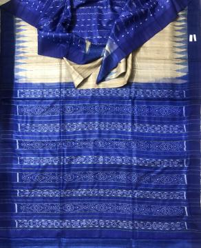 Exclusively Woven Gopalpur Tasar Patli Design Ikat Saree with Blouse Piece