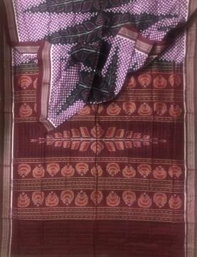 Small boxes and all over Ikat motifs Sambalpuri Cotton Saree without Blouse Piece