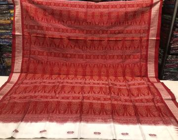 Tribal and Flower motifs White and Red Bomkai Silk Saree with Blouse Piece