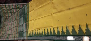 Yellow and Green combination double Aanchal Berhampuri Silk saree with Blouse piece