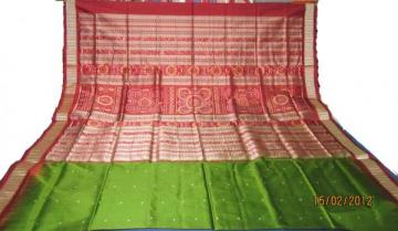 Odisha Handloom Traditional Ikat-Bomkai Saree in Green-Maroon