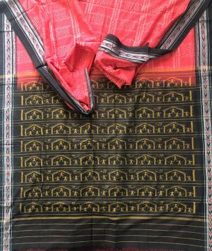 Red and Black all over Ikat work Cotton Saree without Blouse piece