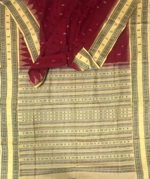 Exclusively woven all over fish motifs and butis Cotton Saree with Blouse Piece