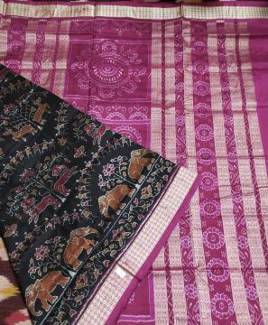 Animal motifs all over Ikat work Silk Saree with blouse Piece