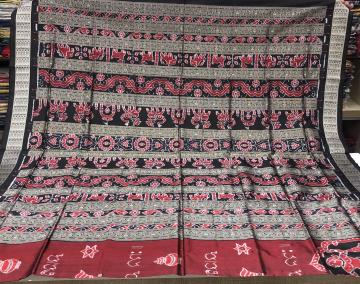Exclusively woven Odia Script mantra Ikat Silk Saree with Blouse Piece