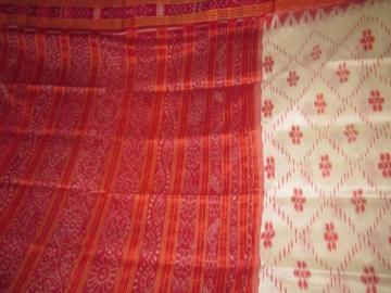 Odisha Handloom White - Red Ikat work Khandua Silk Saree Sari
