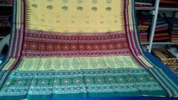 Odisha Handloom doll motif body and traditional bomkai aanchal Saree with blouse piece