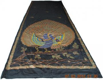 Exquisite Hand Painted traditional Peacock Design Silk Saree