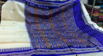 White n Blue Border n Aanchal Ikat work Saree