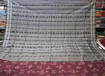 Tribal work design in Ikat pattern in all over body Aanchal and blouse piece