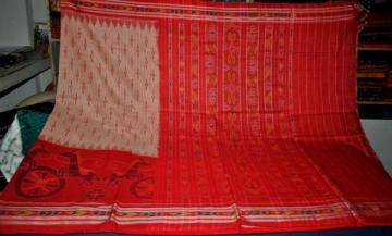 Horse and wheel motif Ikat Saree from Orissa without Blouse piece