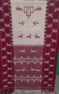 High quality Kotpad Tribal Stole with animal motifs