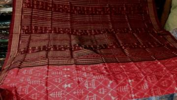 Beautiful Red color Tribal design Ikat Silk Saree