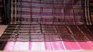 Beautiful Pink Traditional Motifs Ikat Saree