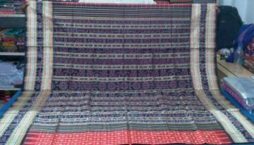 Gorgeous Body Bomkai Work and Traditional Ikat work Aanchal Silk Saree with Blouse