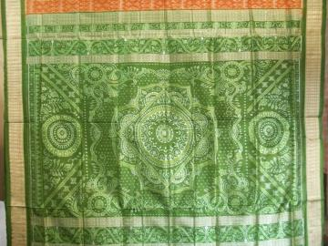 Rust and Green Beautiful All over Ikat work SIlk Saree With Blouse Piece