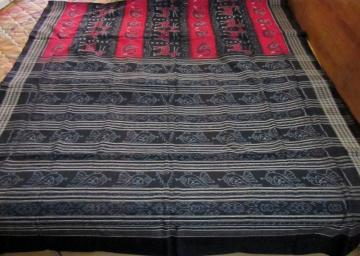 Black n Red Animal Motif Ikat Cotton Saree with Blouse Piece