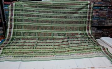 White n Green Traditional Border n Aanchal SIlk Saree
