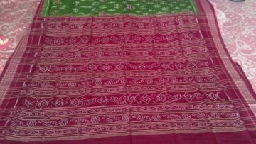 Tribal work in Ikat Green Maroon Odisha Handloom Saree with Blouse Piece