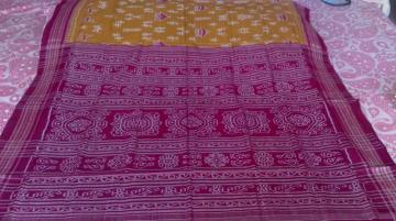 Tribal Design In Ikkat Mustard Yellow n Maroon Cotton Saree with Blouse Piece