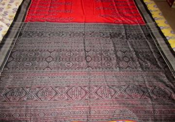 Red and Black Ikat work Cotton Saree with Blouse Piece