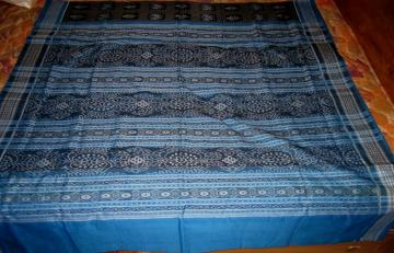 Black and Blue all over ikat Beautiful Cotton Saree with Blouse Piece
