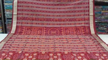 Maroon n Rust Pasapalli n Traditional Ikat SIlk Saree With Blouse Piece