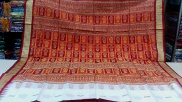Pot Motif Orissa Handloom Bomkai Silk Saree With Blouse Piece