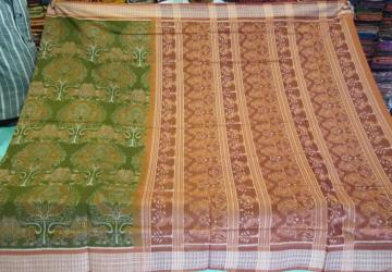 Green Orange Animal Motifs all over Ikat work Cotton Saree with Blouse Piece