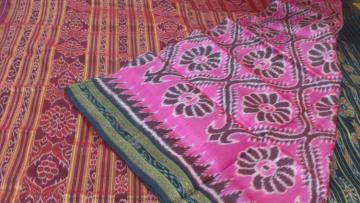 Pink Maroon All over Ikat work Silk Saree without Blouse Piece