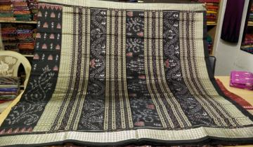 Tribal Work Hand woven Ikat Silk Saree with Blouse Piece