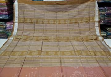Natural dye Hand woven Ikat work Silk with Blouse Piece