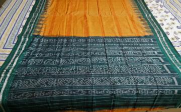 Orange and green Traditional Aanchal Ikat Cotton Saree without Blouse Piece