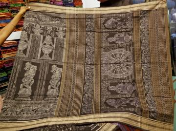 Konark Temple theme In Ikat work Fine Cotton Saree with Blouse Piece
