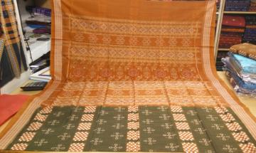 Pasapalli and Traditional Motifs Ikat work Cotton Saree without Blouse Piece
