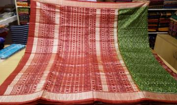 Green Red All over Ikat work Silk Saree with Blouse Piece